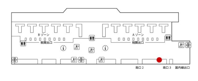 成田空港到着ロビー JALABCカウンター地図